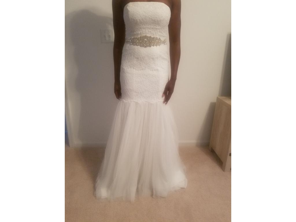 44887a327290 Pin it · David's Bridal Galina Strapless Lace Trumpet With Tulle Skirt ...