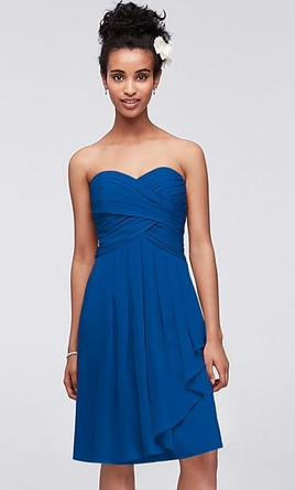 88897041d1049 Pin it · David's Bridal Short Crinkle Chiffon Dress with Front Cascade 18