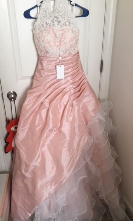 Other Halter Blush Pink Ball Gown Wedding Dress with Org, $200 Size ...