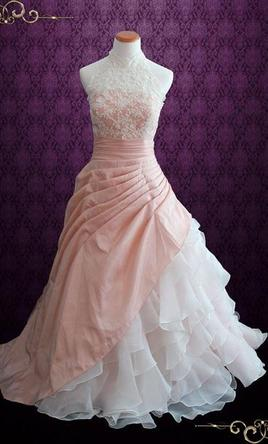 ... Other Halter Blush Pink Ball Gown Wedding Dress With Org 4