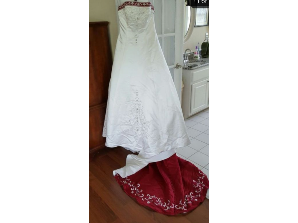Pin It · Alfred Angelo White Satin Beaded Red Trim 1516 8: Wedding Dresses Alfred Angelo Style 1516 At Websimilar.org