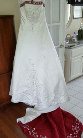 81d51cc06dd0 Alfred Angelo White Satin Beaded Red Trim 1516 Wedding Dress | New ...