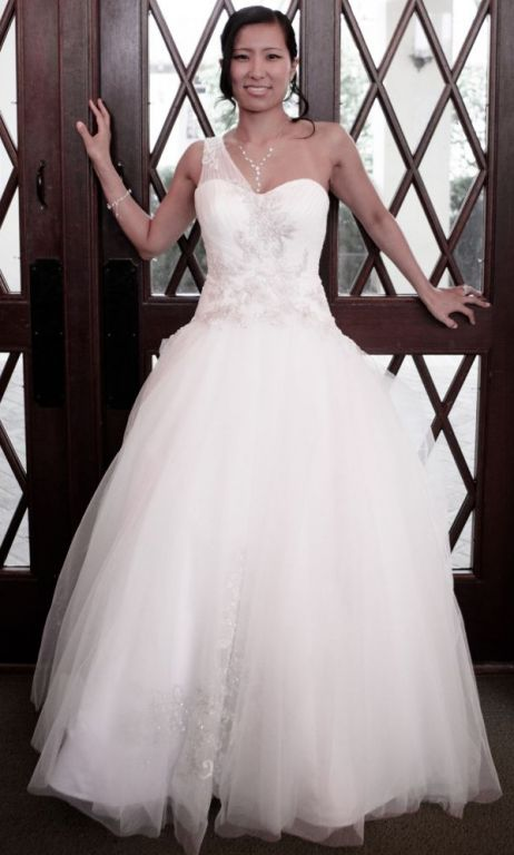 David\'s Bridal One Shoulder Tulle Ball Gown with Lace Appliques ...
