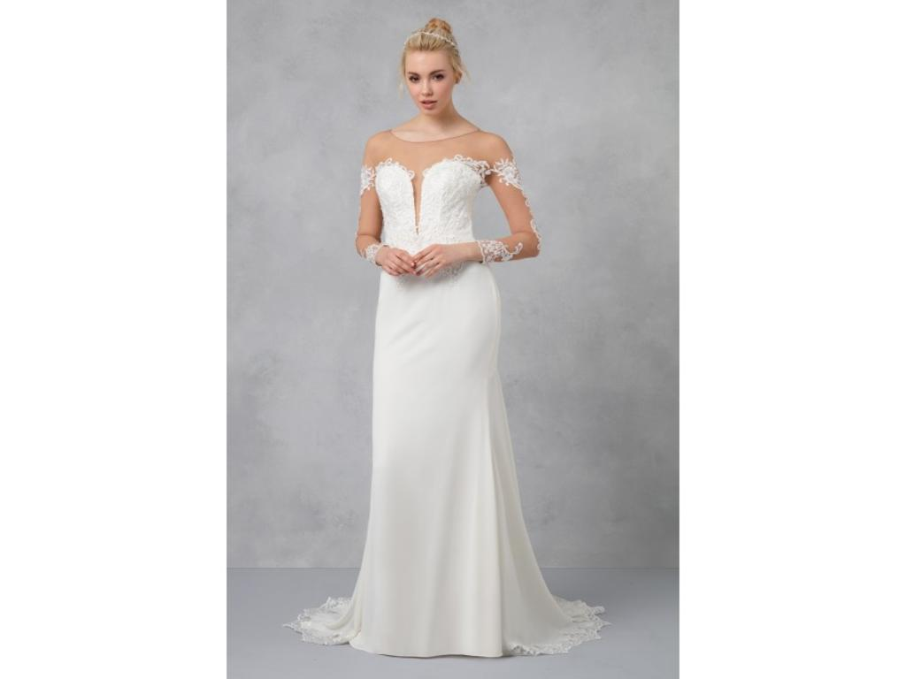 Galina Crepe Wedding Dress With Lace Inset Train, $550
