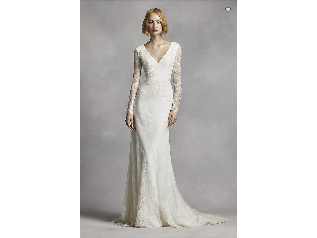 Vera Wang White Long Sleeve Lace Wedding Dress, $585 Size: 6 | Used ...