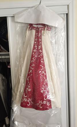 4cfdcc12a33f Pin it Add to: · Alfred Angelo 1516 White/Claret Satin Gown -Flower Girl  Included 8