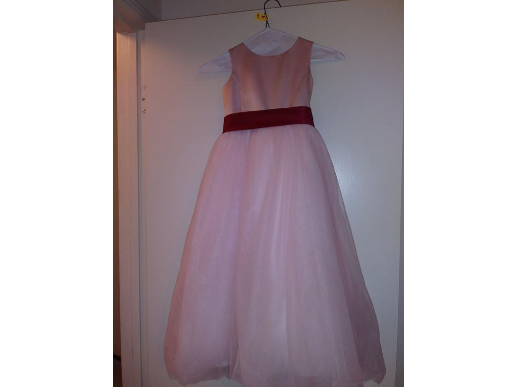 18fa7d198a2 Pin it · David s Bridal Satin Flower Girl Dress with Tulle Skirt S1038