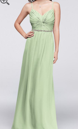 David S Bridal Twist Bodice Chiffon Dress With Beaded Belt