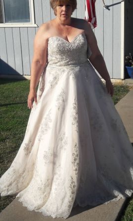 Maggie Sottero 4ms901 Champagne Pewter Accent 20 1 125 Size New Un Altered Wedding Dresses