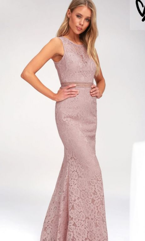 Other Lulus Music Of The Heart Mauve Lace Maxi Dress Size 6
