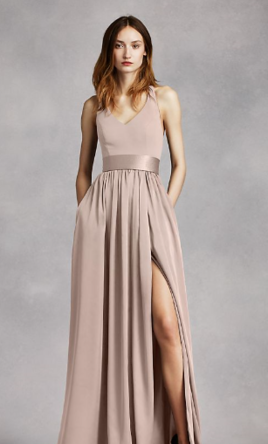 df12b815080a Vera Wang White V Neck Halter Gown with Sash , Size: 14 | Bridesmaid ...