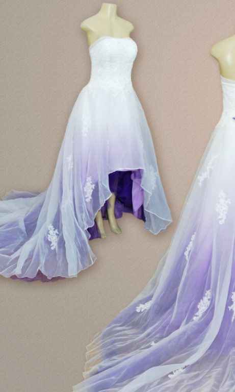 Purple Wedding Dresses.Camille La Vie Altered Into A High Low