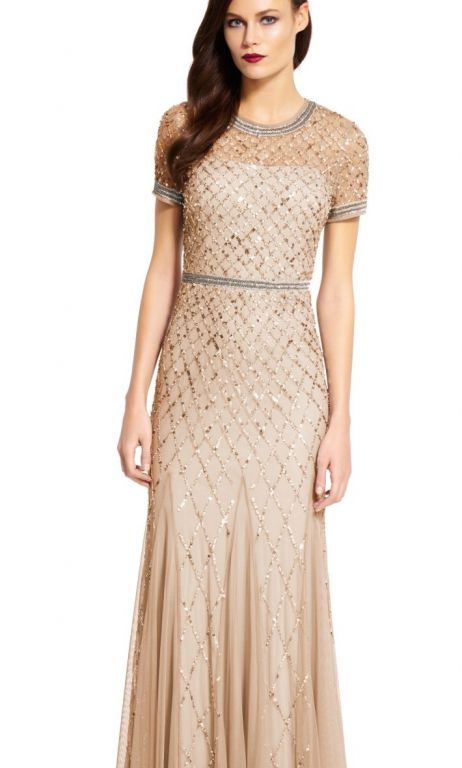 Adrianna Papell Champagne Gold Short Sleeve Beaded Godet Gown, Size ...