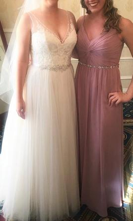 David S Bridal Twist Bodice Chiffon Dress With Beaded Belt W11147