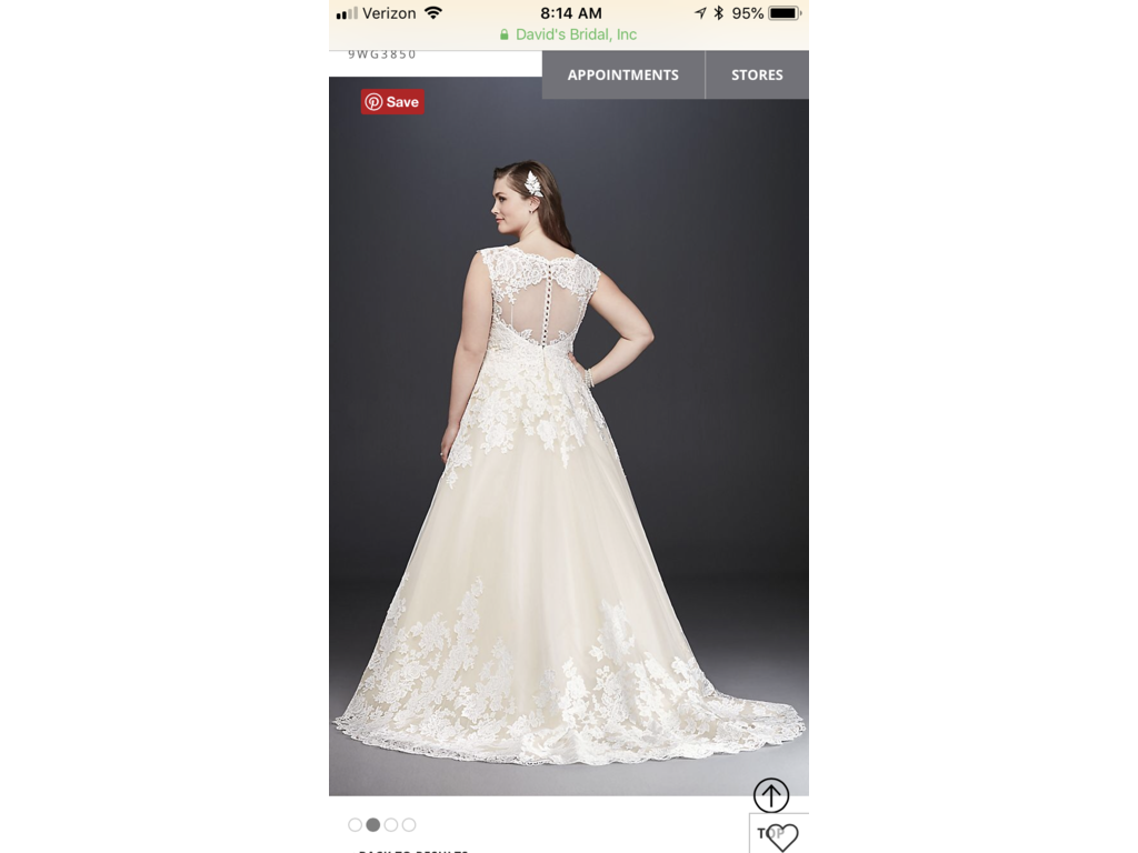 David\'s Bridal Scalloped Lace and Tulle Plus Size Wedding Dress ...