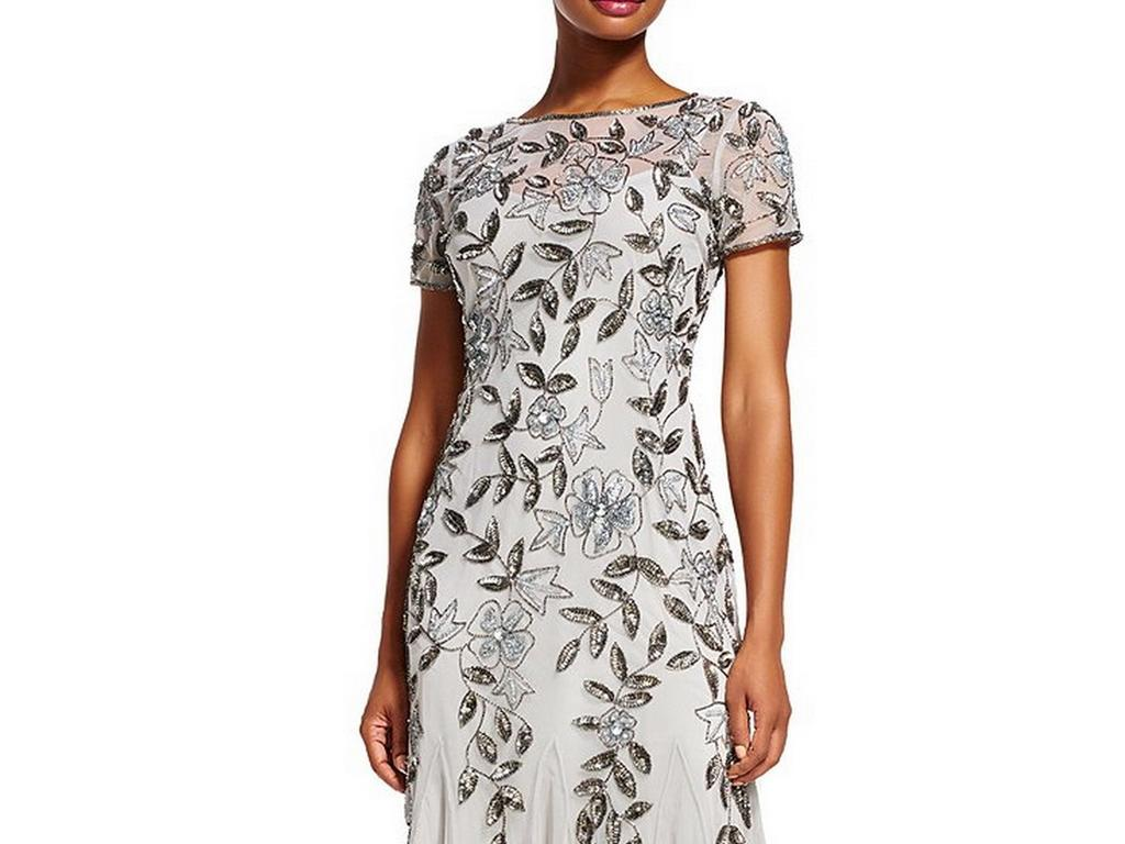 Adrianna Papell Floral Beaded Godet Gown Silver 6 Size 6