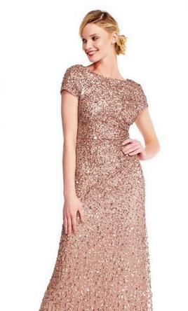 c3fc2d3f Pin it Add to: Adrianna Papell Cowl Back Beaded Long Gown (rose gold )  6Petite 6