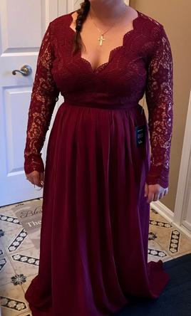 Other Awaken My Love Burgundy Long Sleeve Lace Maxi