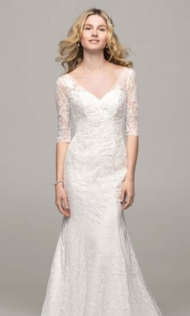 957d4f8e7e8 Pin it Add to  David s Bridal 3 4 sleeve all over lace trumpet gown  10030443 6