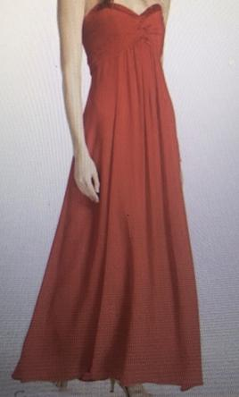 380fed7840d David s Bridal. Long Sheered Chiffon dress eased neckline
