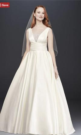 5052f5a142c0 David's Bridal. SATIN CUMMERBUND BALL GOWN WEDDING DRESS V3848. New | Ivory