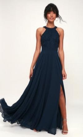 Other Picture Perfect Navy Blue Lace Maxi Dress