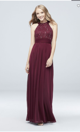 David's Bridal High-neck Sequin Lace And